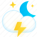 cloud, lightning, moon, night, thunder, weather icon