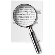 document, file, search, spyglass, text icon
