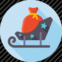 christmas, gifts, santa, santa sled, sled, xmas, xmas sled icon