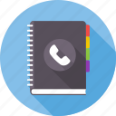 address book, communication, contacts, friend list, list, notebook, phone book icon
