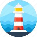 beacon, direction, light, lighthouse, navigation, sea, tower icon