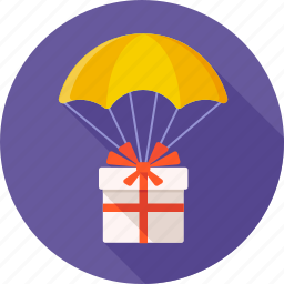 emoticon, gift, gift box, parachute, present, surprise, surprised icon