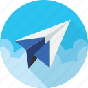aeroplane, aircraft, airline, airplane, paper plane, telegram, voyage icon