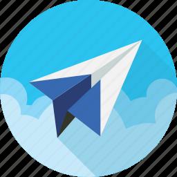 aeroplane, aircraft, airline, airplane, paper plane, voyage icon