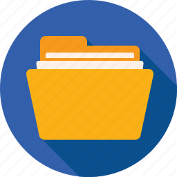 directory, documents, files, folder, paper, yellow icon