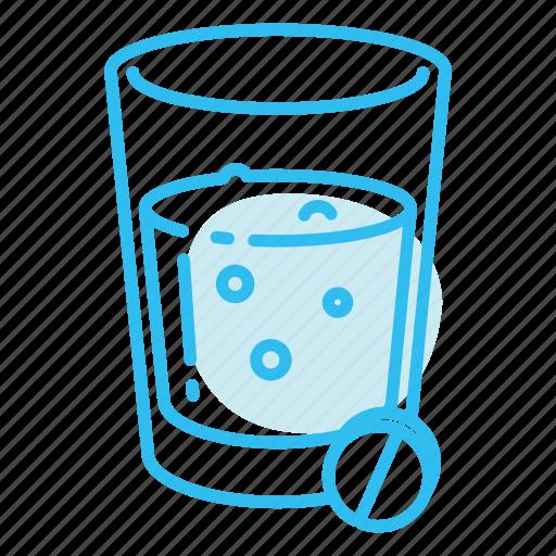 drink, glass, pills icon