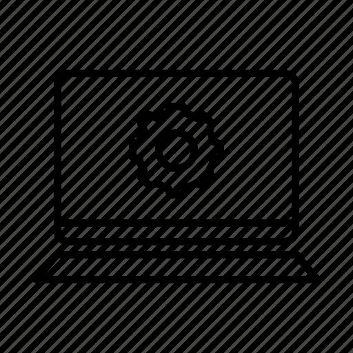 device, gear, laptop, macbook, mobile, screen, settings icon