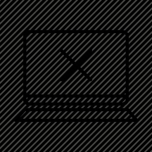 device, error, laptop, macbook, mobile, screen, x icon
