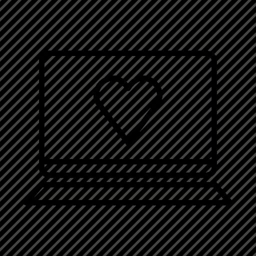 device, heart, laptop, love, macbook, mobile, screen icon