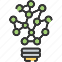 artificial intelligence, light bulb, machine learning, ml, network, solutions icon