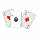 ace, cards, game, playing, poker, set, suit