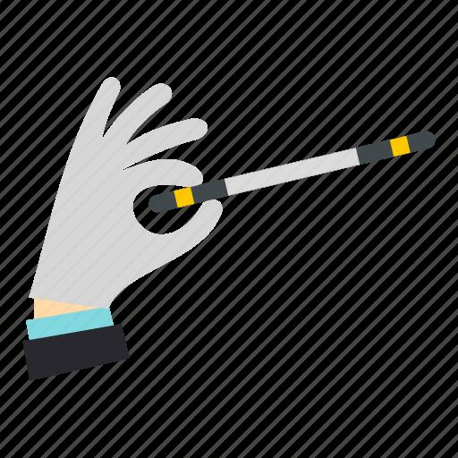 fantasy, hand, magic, magician, star, stick, wand icon