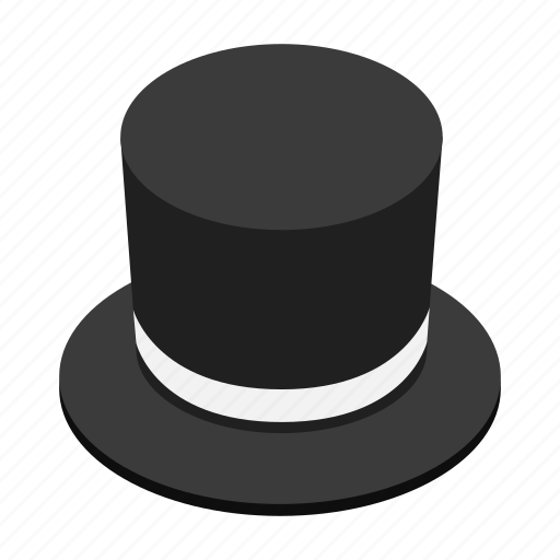 accessory, costume, cylinder, hat, isometric, magic, wizard icon