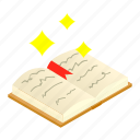 book, isometric, light, magic, open, page, wallpaper icon