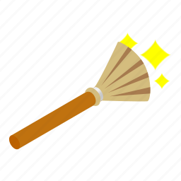 broom, halloween, handle, isometric, object, sweeping, witch icon