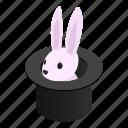 isometric, magic, trick, rabbit, white, hat, illusion
