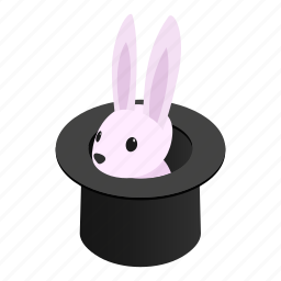hat, illusion, isometric, magic, rabbit, trick, white icon