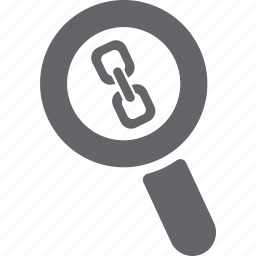 chain, glass, link, magnifier, search, zoom icon