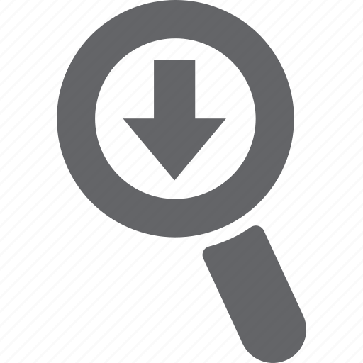 arrow, download, glass, magnifier, search, zoom icon