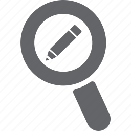 edit, glass, magnifier, pencil, search, zoom icon