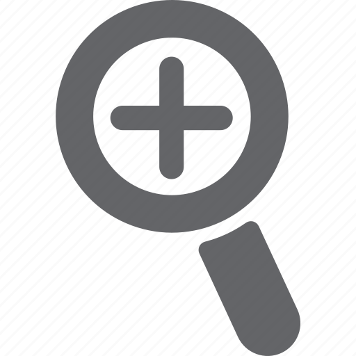 add, cross, glass, magnifier, plus, search, zoom icon