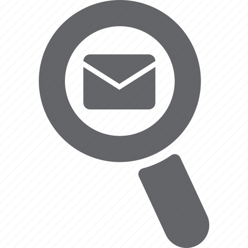 envelope, glass, magnifier, mail, message, search, zoom icon