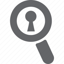 glass, key, lock, magnifier, password, search, zoom icon