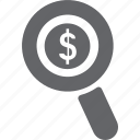 cash, dollar, glass, magnifier, money, search, zoom icon