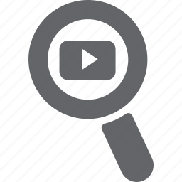 glass, magnifier, play, search, video, youtube, zoom icon