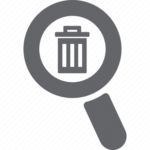 delete, glass, magnifier, remove, search, trash, zoom icon