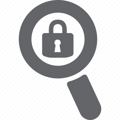 glass, lock, magnifier, password, search, secure, zoom icon