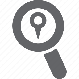glass, location, magnifier, pin, pointer, search, zoom icon