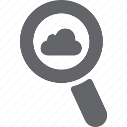 cloud, database, glass, magnifier, search, server, zoom icon