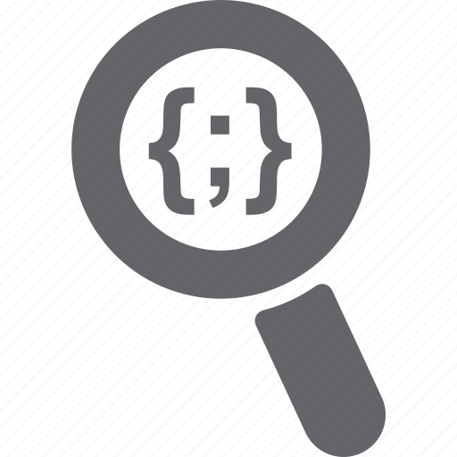 code, glass, html, magnifier, search, zoom icon