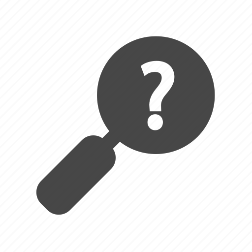 glass, magnifying, question, search icon
