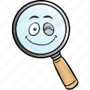emoji, glass, magnifying, find, magnifier, search, seo