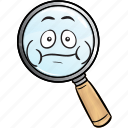emoji, find, glass, magnifying, optimization, search, seo icon