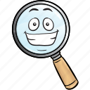 emoji, glass, magnifying, marketing, optimization, search, seo icon