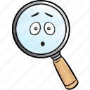 business, emoji, find, glass, magnifying, search, seo icon