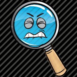 emoji, glass, magnifying, marketing, search, seo, web icon