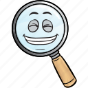 emoji, glass, magnifying icon