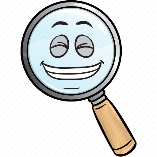 emoji, glass, magnifying icon