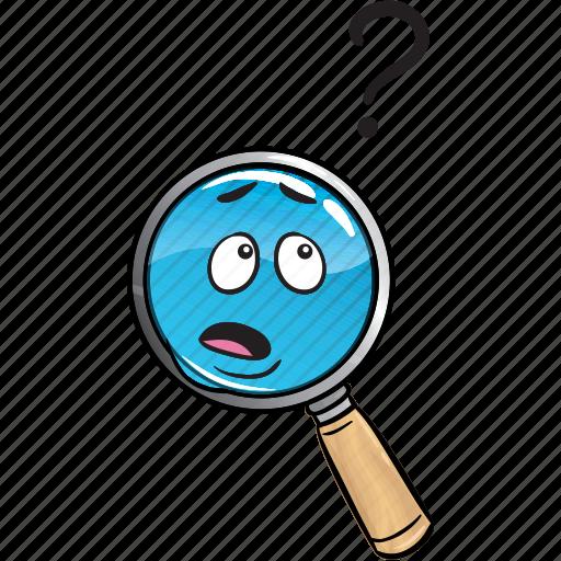 emoji, glass, internet, magnifying, marketing, search, seo icon