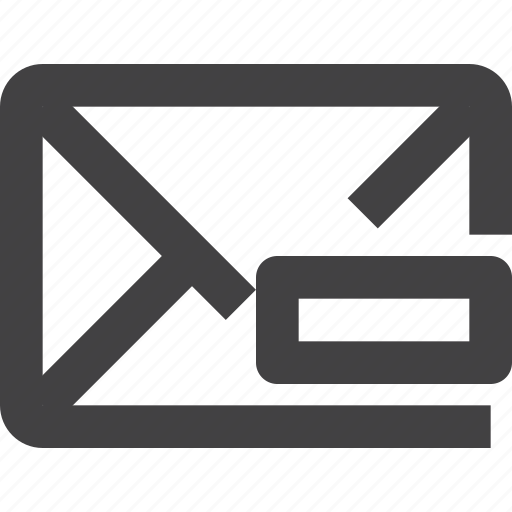 email, mail, message, remove icon