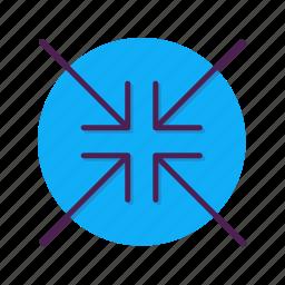 arrow, centre, decrease, direction, slip icon