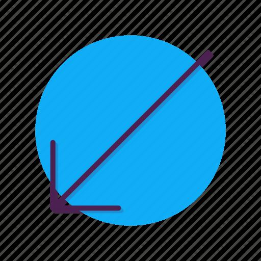 arrow, bottom, direction, left, slip, southwest icon