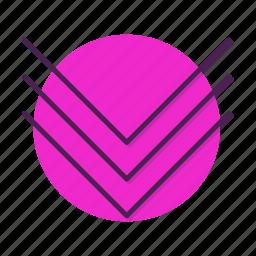 arrow, chevron, direction, down, move, slip icon