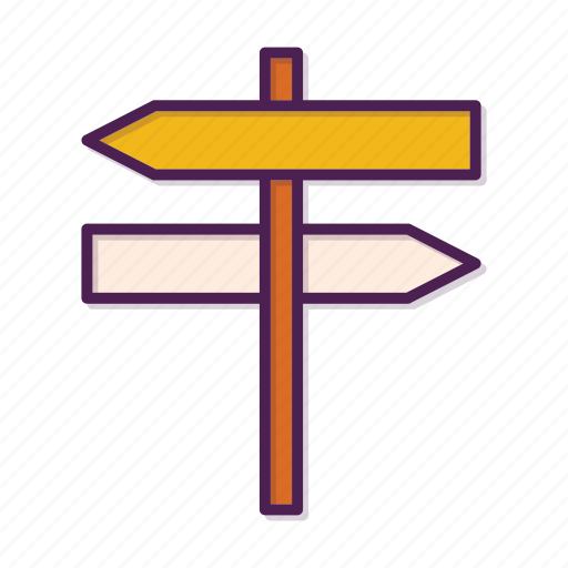road, sign, two, way icon