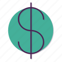 $, currency, dollar, dollars, money, peso icon