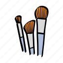 beauty, brushes, illustration, makeup art icon